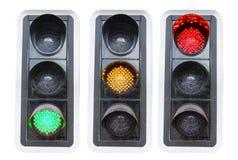 Semafori che mostrano verde rosso e rosso isolati Fotografia Stock Libera da Diritti