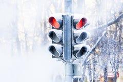 Semafori congelati Fotografia Stock Libera da Diritti