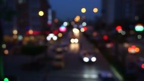 Semafori Defocused di notte video d archivio
