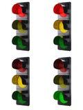Semafori isolati su bianco Fotografia Stock Libera da Diritti