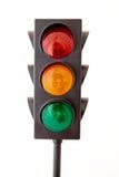 Semafori isolati su priorità bassa bianca Fotografie Stock Libere da Diritti