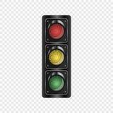 Semafori realistici isolati su un fondo trasparente Elemento di vettore per il vostro disegno illustrazione di stock