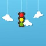 Semaforo e nuvole Fotografia Stock