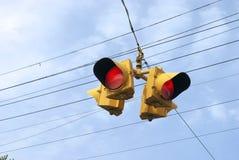 Semaforo rosso a quattro vie Immagine Stock Libera da Diritti