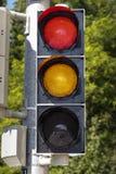 Semaforo su rosso e su giallo, 2015 Immagine Stock Libera da Diritti