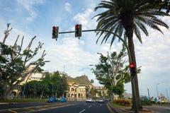 Semaforo sulla via della città di Santa Cruz sull'isola di Tenerife, Spagna Immagine Stock Libera da Diritti
