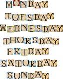 semaine dimensionnelle de l'illustration trois des beaux jours 3d très Image stock