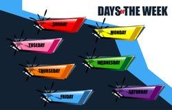 semaine dimensionnelle de l'illustration trois des beaux jours 3d très Images stock
