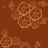 Semaless-modell-blomma-mörker-apelsin Royaltyfri Foto