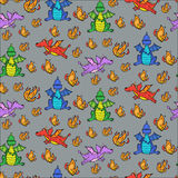 Semaless pattern with cute dragons and fire. Illustration Stock Photo