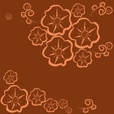 Semaless-pattern-flower-dark-orange. Floral pattern seamless. Orange flowers on a dark orange background. Vector illustration Royalty Free Stock Photo