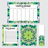 Semanário e planejador diário com teste padrão da mandala Imagem de Stock