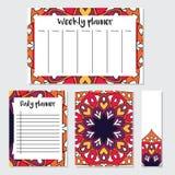 Semanário e planejador diário com teste padrão da mandala Imagens de Stock Royalty Free