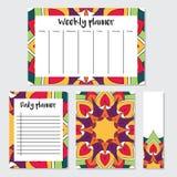 Semanário e planejador diário com teste padrão da mandala Foto de Stock Royalty Free