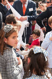 Semana圣诞老人在塞维利亚-孩子请求甜点 库存照片