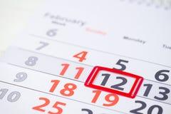 Semana de Maslenitsa o de la crepe 12 de febrero marca en el calendario, cl Foto de archivo libre de regalías