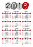 A semana 2018 do molde do calendário começa domingo, seixo estilizado Imagens de Stock