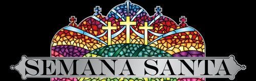 Semana Santa - ιερή εβδομάδα στην ισπανική γλώσσα - στο λεκιασμένο γυαλί με το θέμα της σταύρωσης Χριστού με το μαύρο πλαίσιο, Bi Στοκ Εικόνες