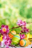 Semana Santa Aún-vida con los huevos coloreados Fotografía de archivo libre de regalías