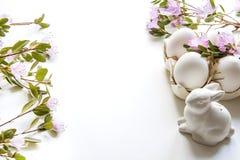 Semana Santa Conejito y huevos blancos con la flor Preparación para la coloración fotos de archivo