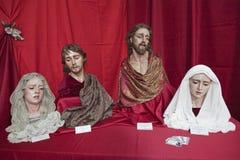A Semana Santa do católico das figuras religiosas do expositor Fotografia de Stock
