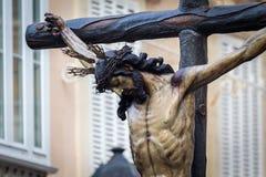 A Semana Santa em Cadiz, Espanha Cristo da mercê e nossa senhora dos rasgos, La Piedad fotografia de stock