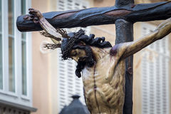 Semana santa en Cádiz, España Cristo de la misericordia y nuestra señora de rasgones, La Piedad Fotografía de archivo