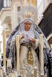 Semana santa en Cádiz, España La Virgen del desamparado Fotos de archivo
