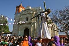 Semana Santa, Oaxaca, Mexico. Good Friday procession in a neighborhood of Oaxaca, Mexico. During Semana Santa (Easter week), all people of a community come stock photography