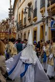 Semana santa procession i Cordoba arkivbild