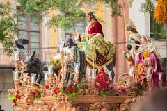 Semana santamente em Malaga, Spain Jesus Christ da procissão de Pollinica fotografia de stock royalty free