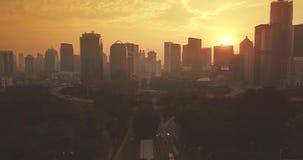 Semanggi跨线桥风景与摩天大楼的 股票录像