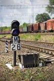 Semaphor auf Gleis Stockbilder