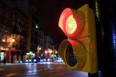 Semaphore. At night, Merced Square in Malaga Royalty Free Stock Photography