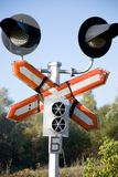 Semaphore. A railroad semaphore with a restrictive sign Stock Image