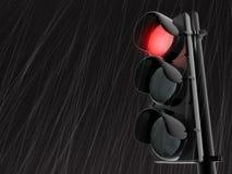 Semaphore. 3d rendered traffic light in the rain Stock Photos