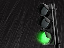 Semaphore. 3d rendered traffic light in the rain Royalty Free Stock Photo