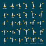 Semaphore Alphabet Icons Set Royalty Free Stock Photo