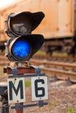 Semaphore blue light for trains Stock Photos