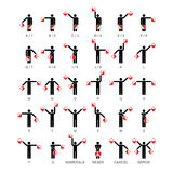 Semaphore flag signals. Alphabet and numbers Royalty Free Stock Images