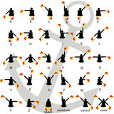 Semaphore flag signals alphabet white background with anchor vector. Royalty Free Stock Photos