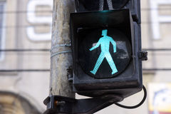Semaphore on green for pedestrian Royalty Free Stock Photo