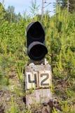 Semaphore on the rail road. Old railway traffic lights, semaphore on the rail Royalty Free Stock Images