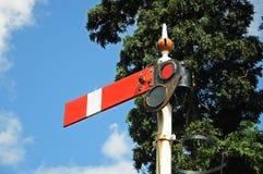 Semaphore railway signal, Hampton Loade. Semaphore signal showing the lower quadrant home danger at the railway station, Hampton Loade, Shropshire, England, UK Stock Photo
