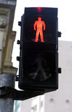 Semaphore on red for pedestrian Stock Photos