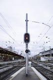 Semaphore train station Royalty Free Stock Photo