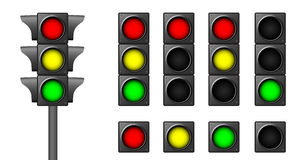 Semaphores. The isolated traffic lights for combinations of road situations Stock Photography
