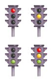 Semaphores. Colored illustration of 4 semaphores with the various turned on lights Royalty Free Stock Photos