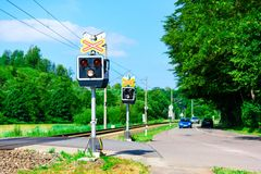 Semaphores in front of the railway crossing Royalty Free Stock Photography