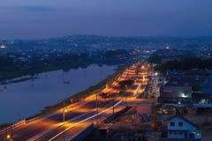 Semarang днем и ночью стоковые изображения rf